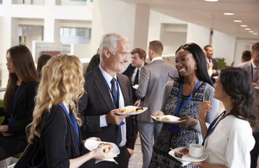 A group of people at a networking event